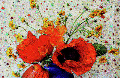 Photograph - Poppies In Blue Jug by Nareeta Martin