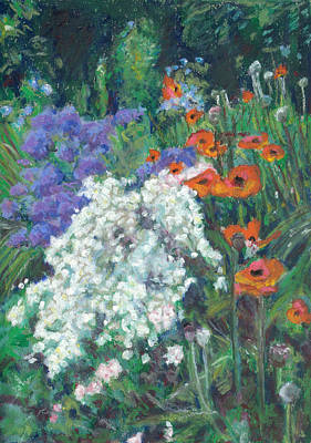 Pastel - Poppies In June Garden by Judy Adamson