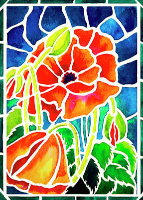 Poppies In Stained Glass Art Print by Janis Grau
