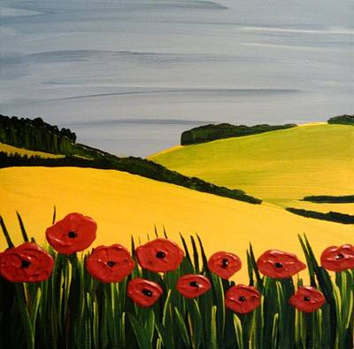 Blu Painting - Poppies In The Hills by Edmund Akers