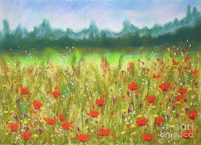 Pastel - Poppies In The Meadow  by Barrie Stark
