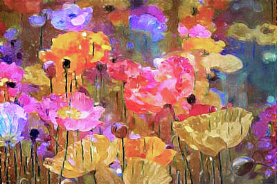 Mixed Media - Poppies In The Meadow by Susan Maxwell Schmidt
