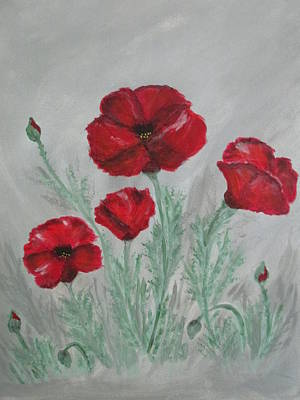 Painting - Poppies In The Mist by Sharyn Winters
