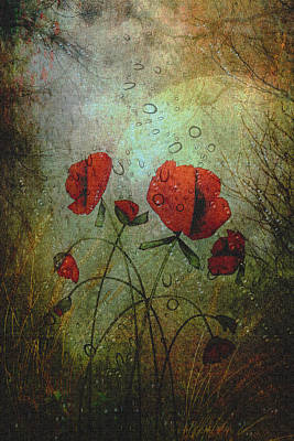 Poppies In The Rain Art Print by Rosemary Smith