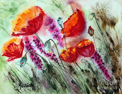 Painting - Poppies In The Wind by Maria Barry