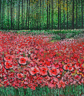 Covert Painting - Poppies In The Wood by Diane Griffiths