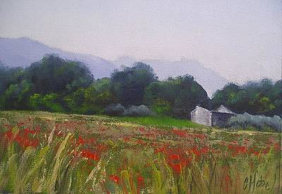 Art Print featuring the painting Poppies In Tuscany by Chris Hobel