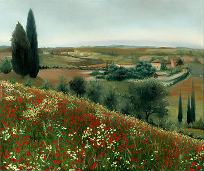 Poppies In Tuscany Art Print by Leah Wiedemer