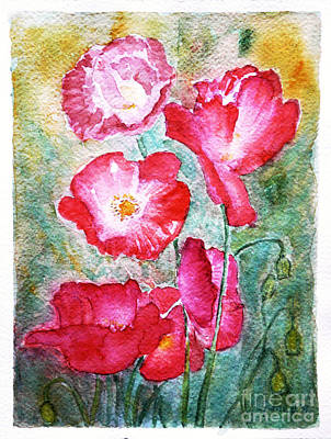 Art Print featuring the painting Poppies by Jasna Dragun