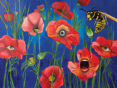 Wild Orchards Drawing - Poppies by John Alekseev