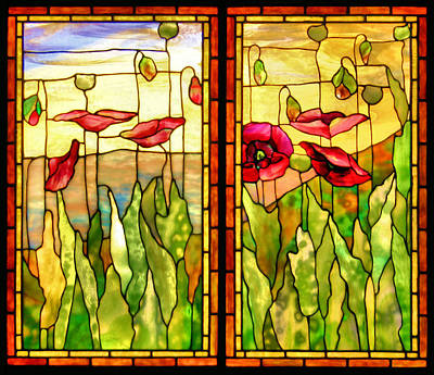 Stained Glass Panels Photograph - Poppies by Kristin Elmquist