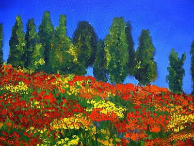Poppies Landscape Art Print by Mary Jo Zorad