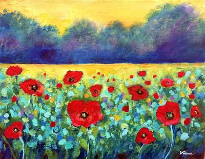 Floral Hand-painted Frame Painting - Poppies Landscape by Venus