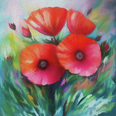 Digital Art - Poppies by Lena  Owens OLena Art