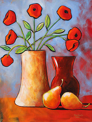 Recently Sold - Still Life Royalty-Free and Rights-Managed Images - Poppies N Pears by Toni Grote