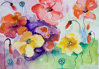 Poppies Of Color Art Print by Delilah  Smith
