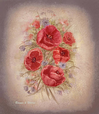 Digital Art - Poppies Of Memory Lane by Bonnie Willis