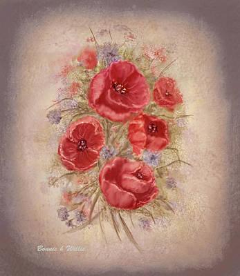Digital Art - Poppies Of Memory Lane by Bonnie Willis