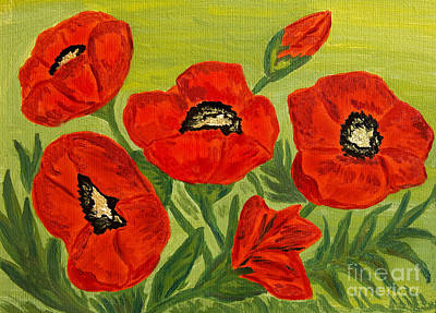 Painting - Poppies, Oil Painting by Irina Afonskaya