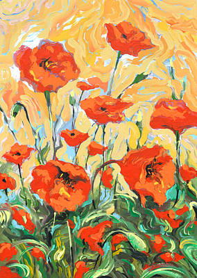 Painting - Poppies On A Yellow            by Dmitry Spiros