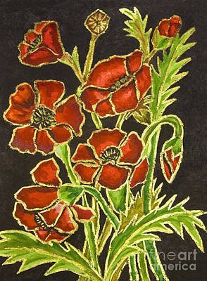 Painting - Poppies On Black Background, Painting by Irina Afonskaya