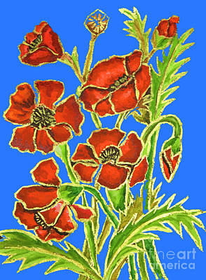 Painting - Poppies On Blue Background, Painting by Irina Afonskaya