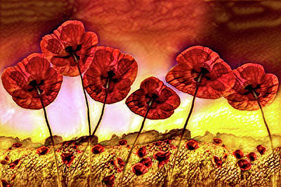 Photograph - Poppies On Fire Vivid Painting by Debra and Dave Vanderlaan