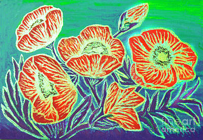Painting - Poppies On Green, Painting  by Irina Afonskaya