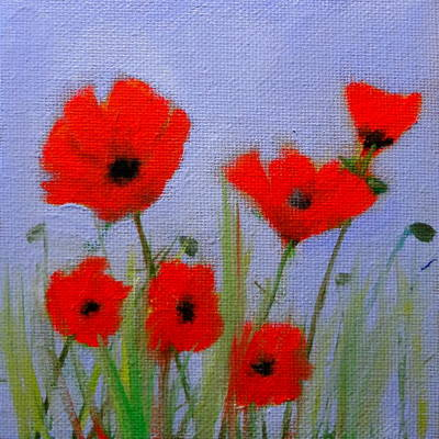 Painting - Poppies On Lavender Background by Katy Hawk