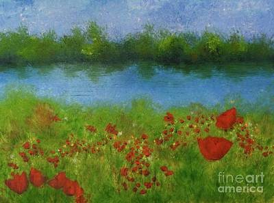 Painting - Poppies On Mirror Lake by Barrie Stark