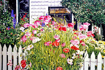 Picket Fence Painting - Poppies On Niagara Street by David Lloyd Glover