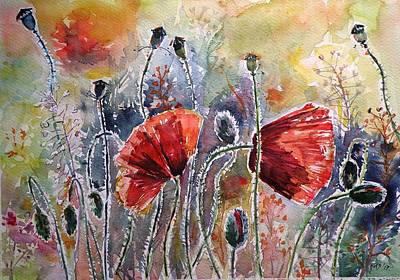 Poppies Field Painting - Poppies On The Field by Kovacs Anna Brigitta