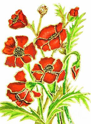 Painting - Poppies On White Background, Painting by Irina Afonskaya