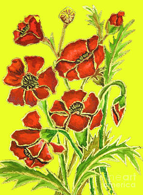 Painting - Poppies On Yellow Background, Painting by Irina Afonskaya