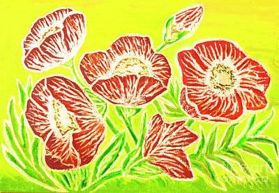 Painting - Poppies On Yellow by Irina Afonskaya