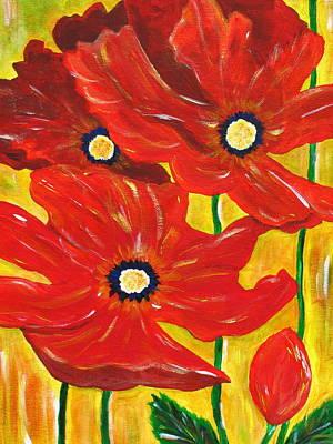 Poppies Painting  Art Print by Linda Larson