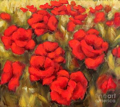 Painting - Poppies Passion Fragment by Inese Poga