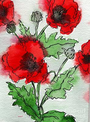 Watercolor Poppies Art Print