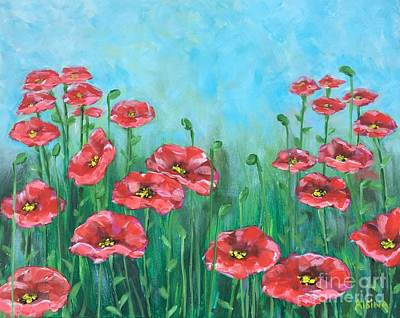 Wall Art - Painting - Poppies by Raul Alsina