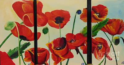 Art Print featuring the painting Poppies by Saundra Johnson