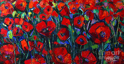 Painting - Poppies Symphony Modern Impressionist Palette Knife Oil Painting by Mona Edulesco