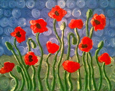 Poppies Art Print by Tina Hollis