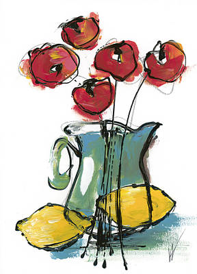 Pitcher With Flowers Painting - Poppies With 2 Lemons by Valorie Hillerich