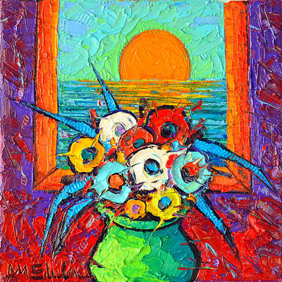Poppies With Sea Sunrise View Modern Impressionist Palette Knife Oil Painting By Ana Maria Edulescu Art Print by Ana Maria Edulescu