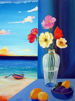 Painting - Poppies,lemons,prunes And Little Boat by Roberto Gagliardi