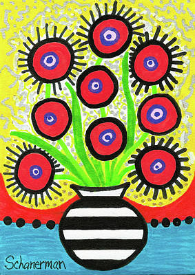 Red Poppies Drawing - Poppin' Red Poppies by Susan Schanerman