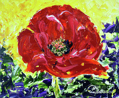 Painting - Poppy Amongst Lavender by Lynda Cookson