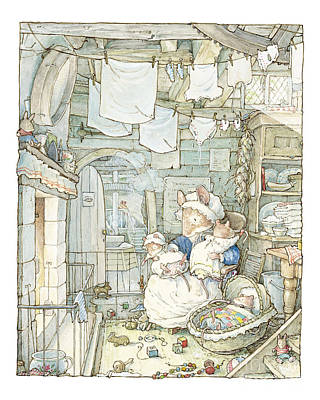 Poppy And Her Babies Sit By The Fire Art Print by Brambly Hedge