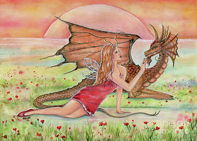 Poppy And Polly Fairy And Dragon Art Original by Renee Lavoie