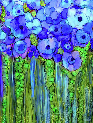 Alcohol Ink Wall Art - Mixed Media - Poppy Bloomies 1 - Blue by Carol Cavalaris